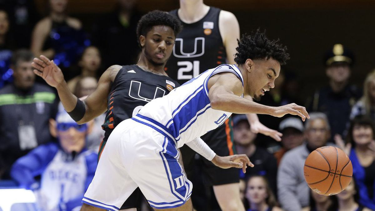 Miami guard Chris Lykes, left, guards Duke guard Tre Jones during the first half of an NCAA college basketball game in Durham, N.C., Tuesday, Jan. 21, 2020. (AP Photo/Gerry Broome)