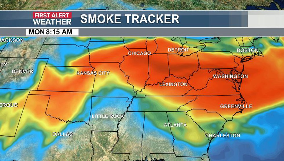 Wildfire smoke should thin for ENC Tuesday PM