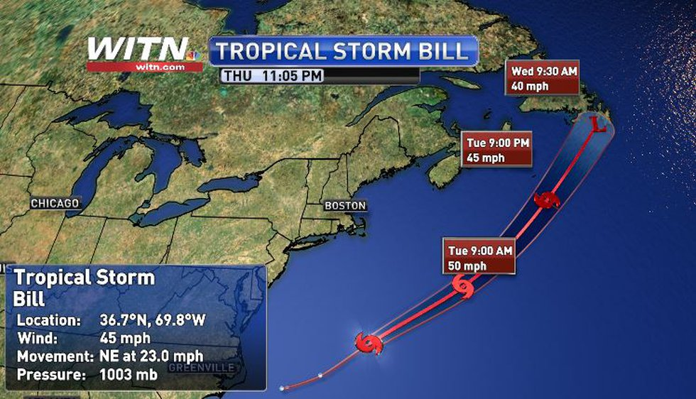Tropical Storm Bill becomes 2nd named storm of the 2021 Atlantic Hurricane Season