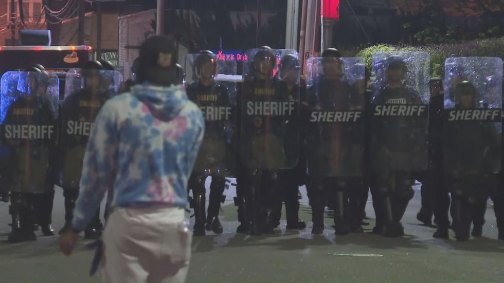 Sheriff's Department in riot gear at protests in Elizabeth City.