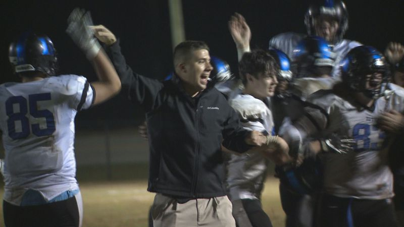 Bethel Christian Academy football celebrates after winning the 2020 NCISAA 8-man football DII...