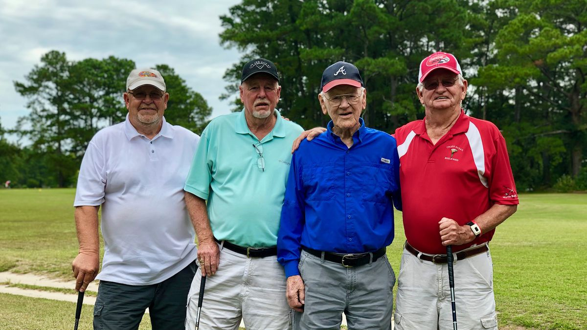 Jimmie's golf friends (from L to R): George Eldridge, Lavern Mayo, Jimmie Huggins, and James Coltrain
