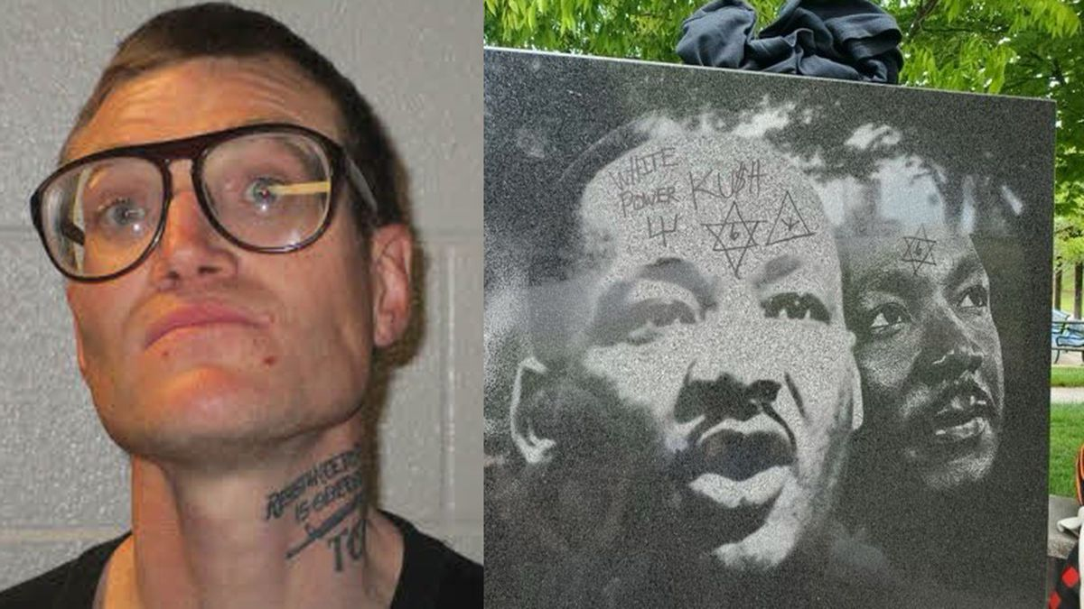 Heath Justus has been charged by police with ethnic intimidation surrounding the defacing of a...