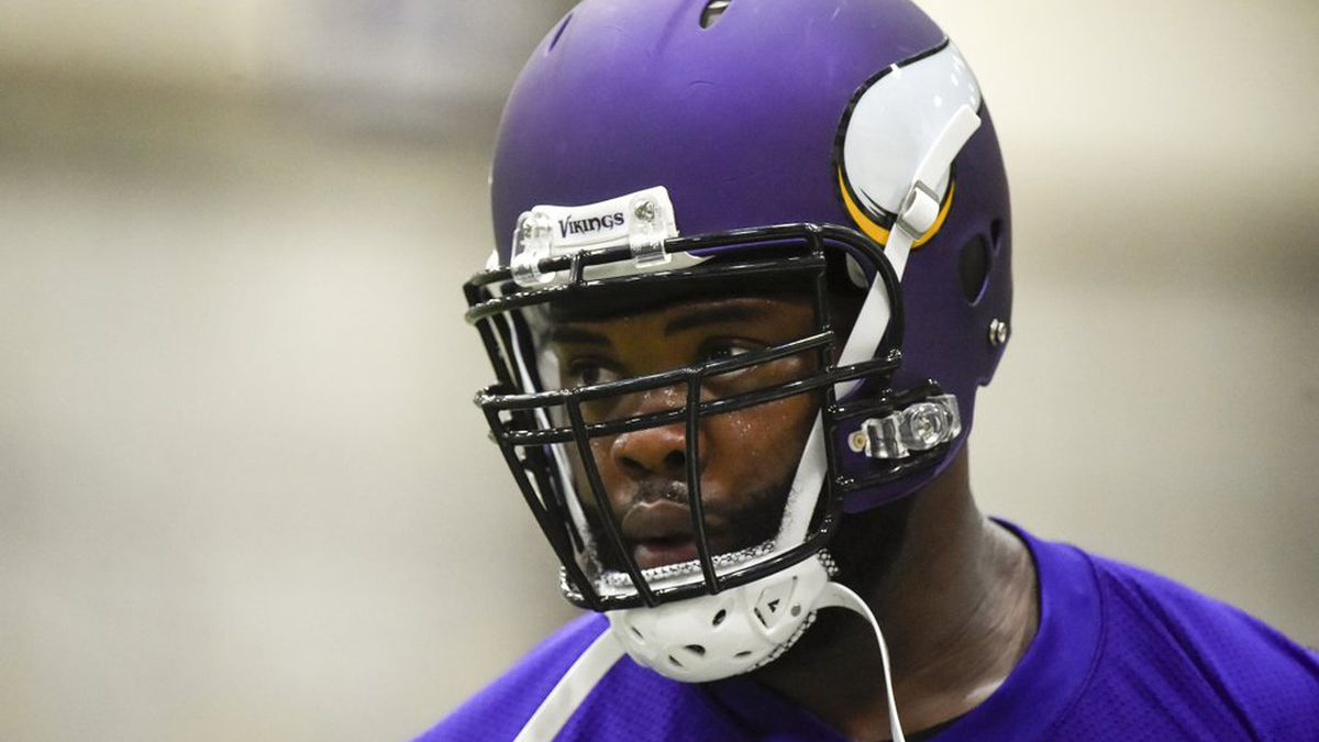 FILE - In this May 25, 2016, file photo, Minnesota Vikings defensive tackle Linval Joseph works out during NFL football practice in Eden Prairie, Minn. The salary-cap-strapped Minnesota Vikings have terminated the contracts of two long-time starters: nose tackle Linval Joseph and cornerback Xavier Rhodes. The move will clear more than $18.5 million off the team's salary cap. (AP Photo/Craig Lassig, File)