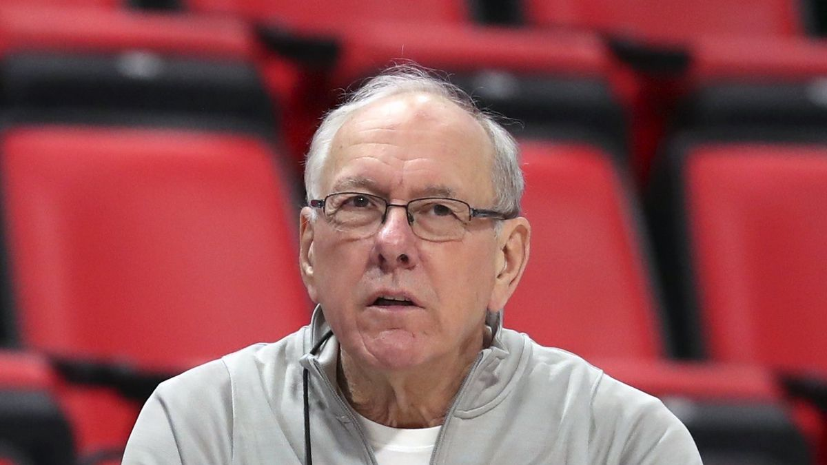 FILE - In this March 15, 2018, file photo, Syracuse head coach Jim Boeheim watches during a practice for an NCAA men's college basketball tournament first-round game, in Detroit. Police say Syracuse men's basketball coach Jim Boeheim struck and killed a 51-year-old man walking outside his vehicle on a highway near Syracuse, N.Y., Wednesday, Feb. 20, 2019. (AP Photo/Carlos Osorio, File)