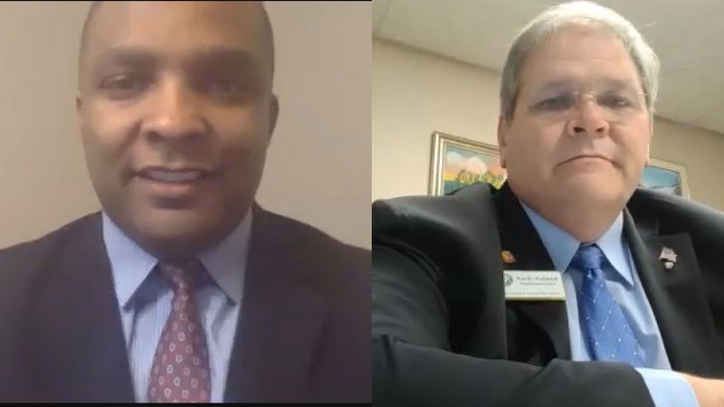 N.C. Senator Don Davis and N.C. Representative Keith Kidwell react to protest