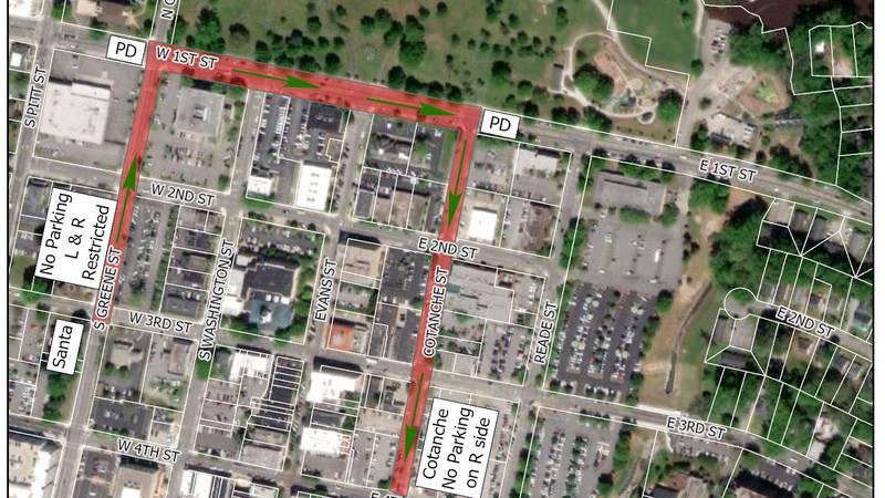 Greenville Christmas Parade 2020 map