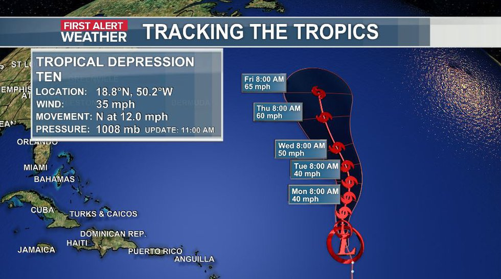 The official track and data of Tropical Depression Ten as of the 11 a.m. update (8-29).