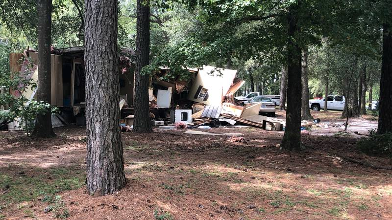 Scene of where a fire and explosion took place in Duplin County on Wednesday