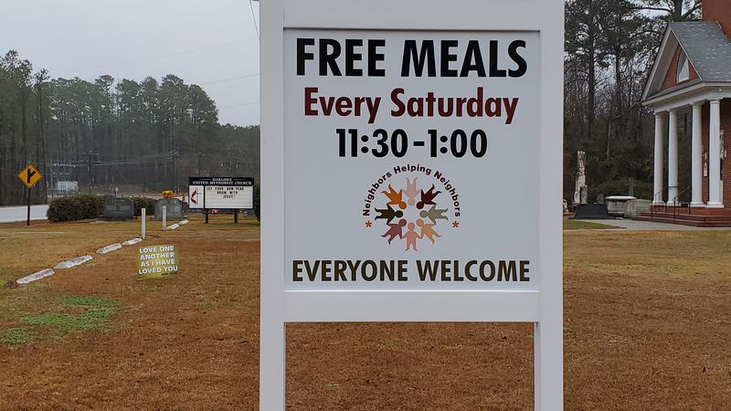 Harlowe United Methodist Church gives away free meals on Saturday's.