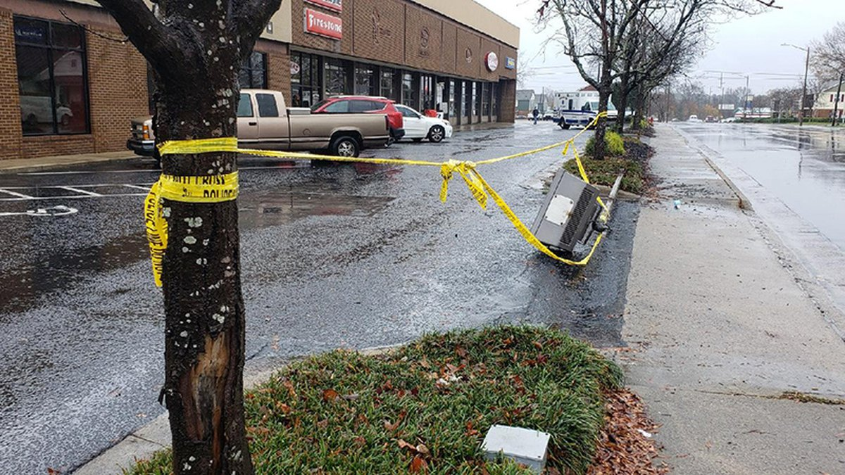 A Greenville driver was shot before he crashed into this light pole Sunday.