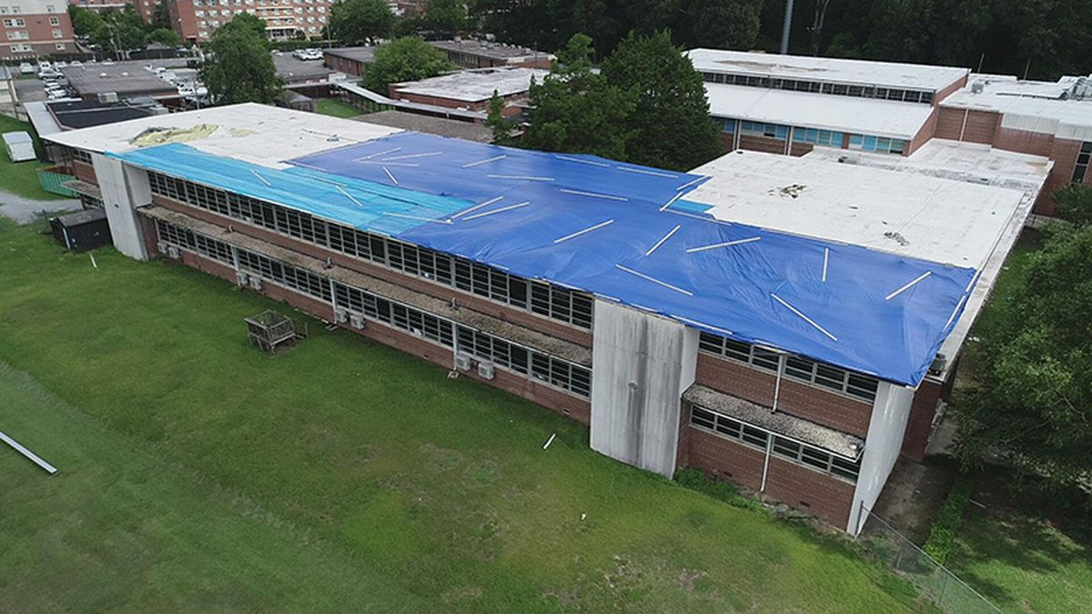 A middle school lost part of its roof thanks to Hurricane Isaias.