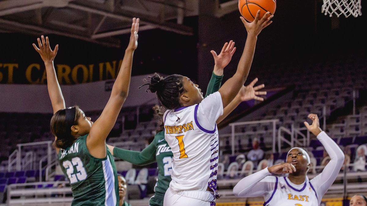 Taniyah Thompson goes up for a layup in ECU's 72-64 win over Tulane Tuesday, Dec. 22, 2020...