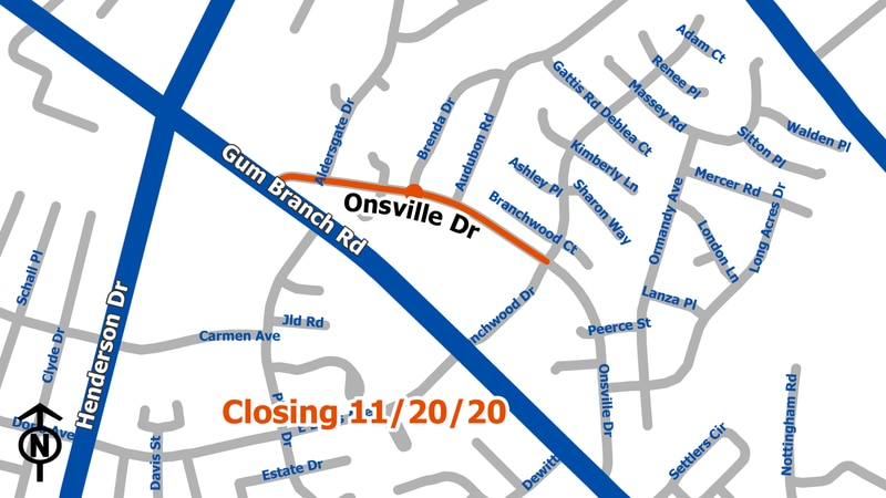 Onsville Drive closing for repairs