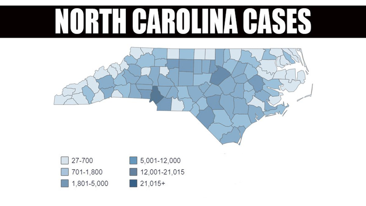 This shows the number of cases in North Carolina counties.