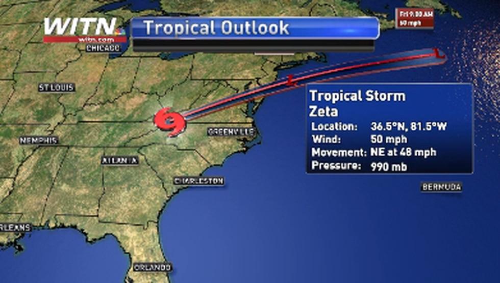Tropical Storm Zeta midday Thursday