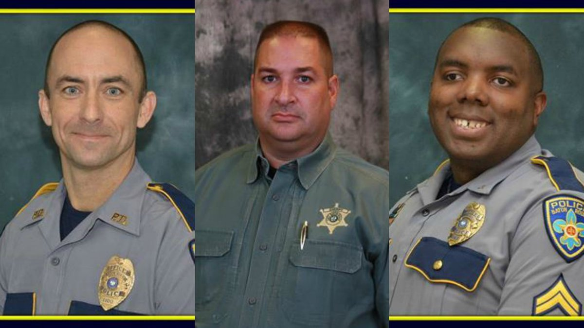 Officers Matthew Gerald, Brad Garafola and Montrell Jackson who were killed on Sunday by...