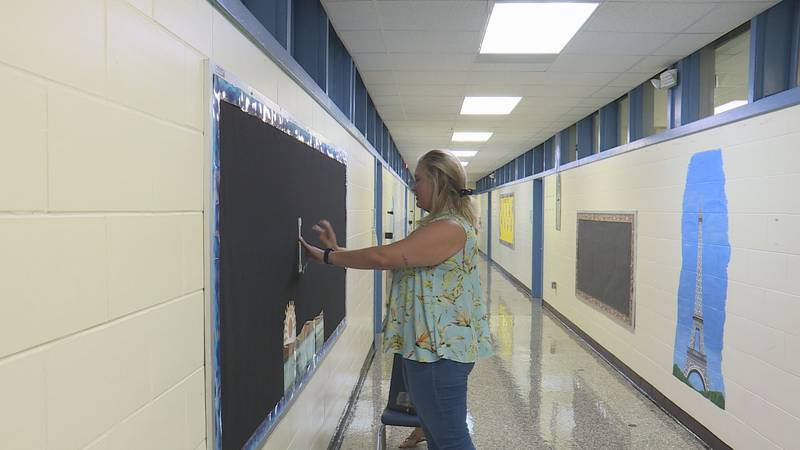 Teachers preparing for in-person learning.