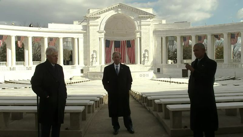 Former presidents Barack Obama, George W. Bush and Bill Clinton sent a joint message wishing...
