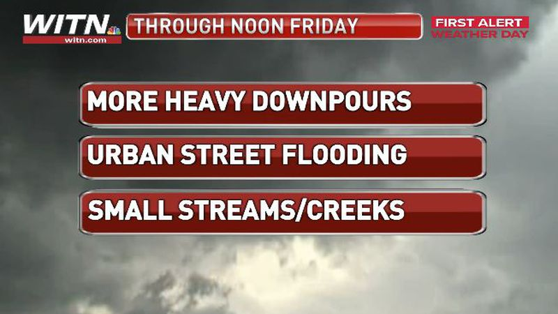 Heavy downpours will continue through noon Friday