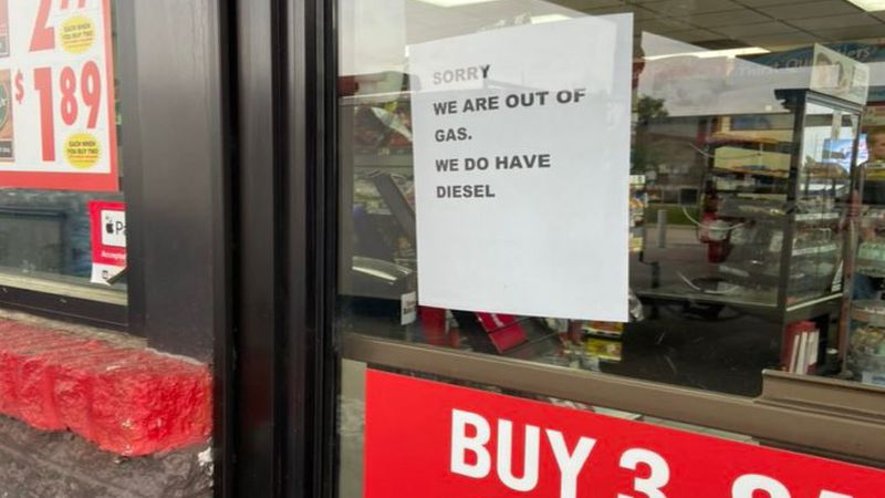 The Speedway on Old Tar Road in Pitt County posted a sign on the door saying they are out of gas.
