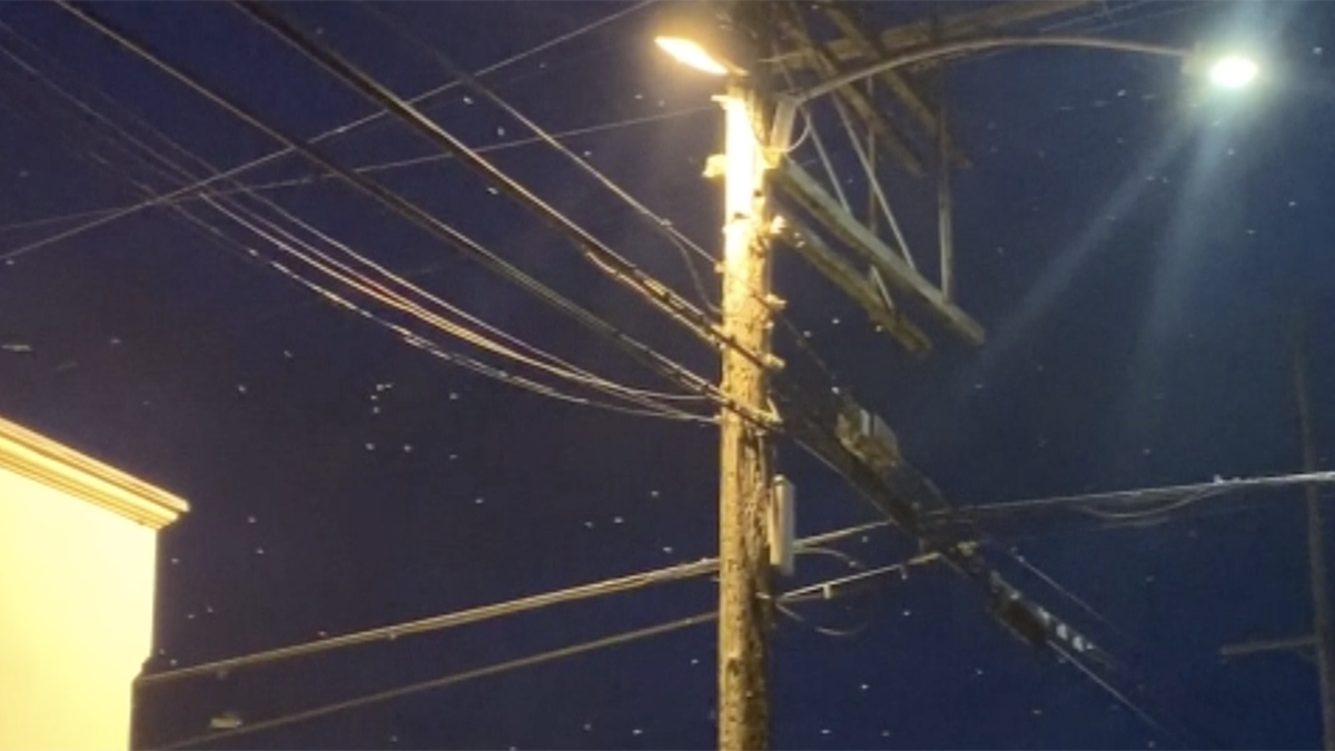 This is a termite swarm around a light post after dark.