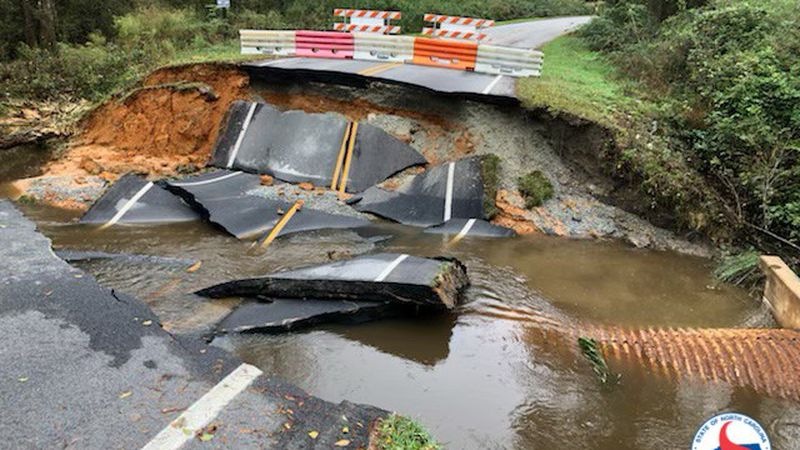 This road in Sampson County was washed out from Thursday's storm.