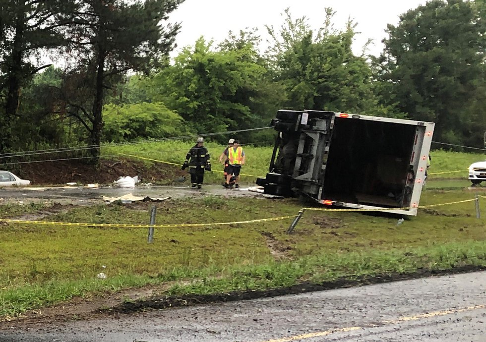 Troopers say this box truck crossed the median.