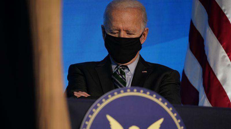 President-elect Joe Biden listens during an event at The Queen theater, Saturday, Jan. 16,...