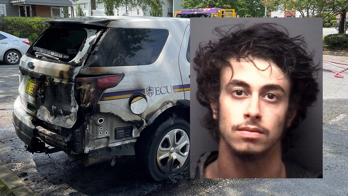 The man is accused of torching an ECU police cruiser.