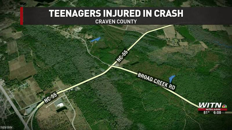 UPDATE: Three teens seriously injured in Craven County crash