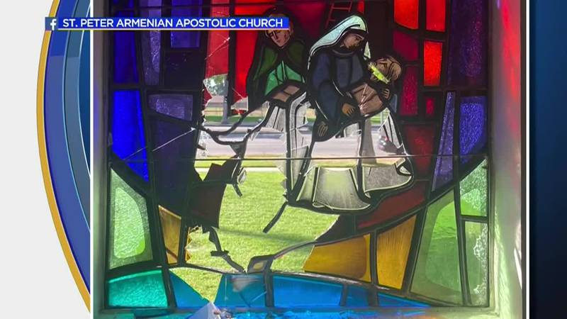 Security video from St. Peter Armenian Apostolic Church in California shows a man walk up to...