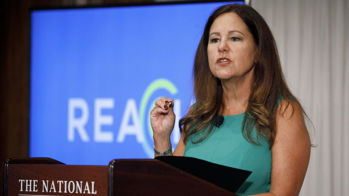 Second lady Karen Pence speaks at the National Press Club about a campaign to raise awareness on the risks of veterans suicide, Tuesday, July 7, 2020, in Washington.