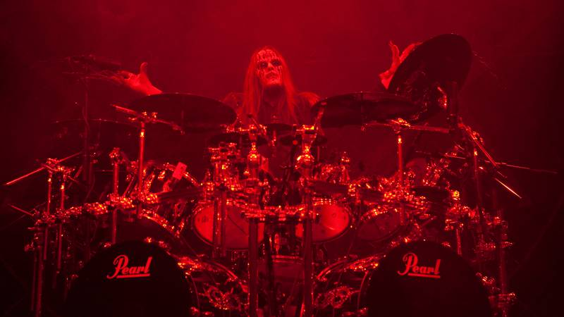"""Drummer  Joey Jordison """"#1"""" of Slipknot performs on stage at the Hollywood Palladium on October..."""
