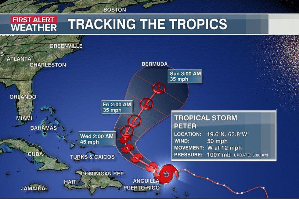 Peter is still forecast to weaken as the storm nears Bermuda