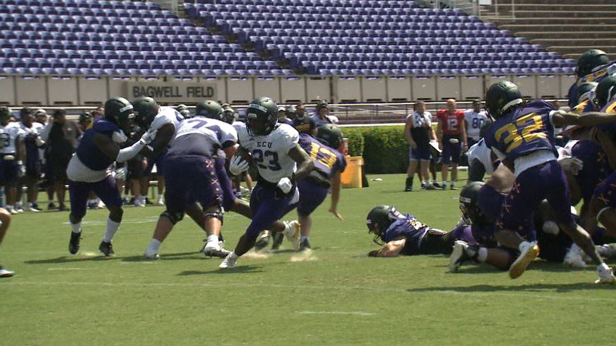 ECU FOOTBALL HOLDS FIRST SCRIMMAGE OF FALL CAMP