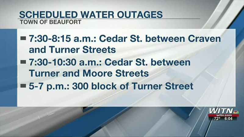 Scheduled water outage along Cedar Street in Town of Beaufort