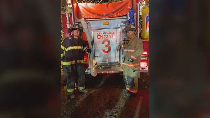 Warsaw firefighter Blake Phillip and Faison fire chief Lee Kennedy rescued a man from a house...