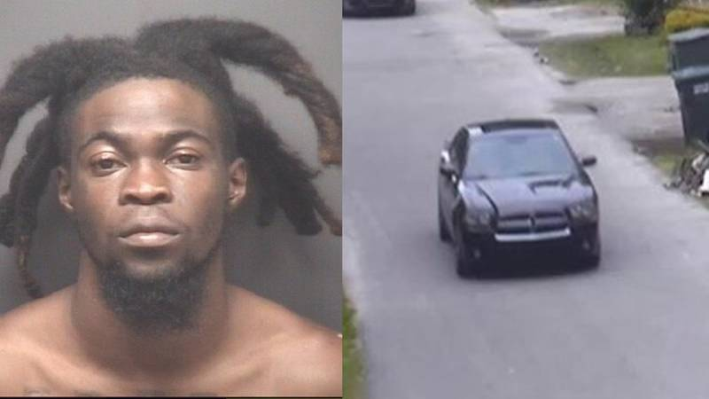 Antre Jones was charged, while police are also searching for those in this black Dodge Charger.