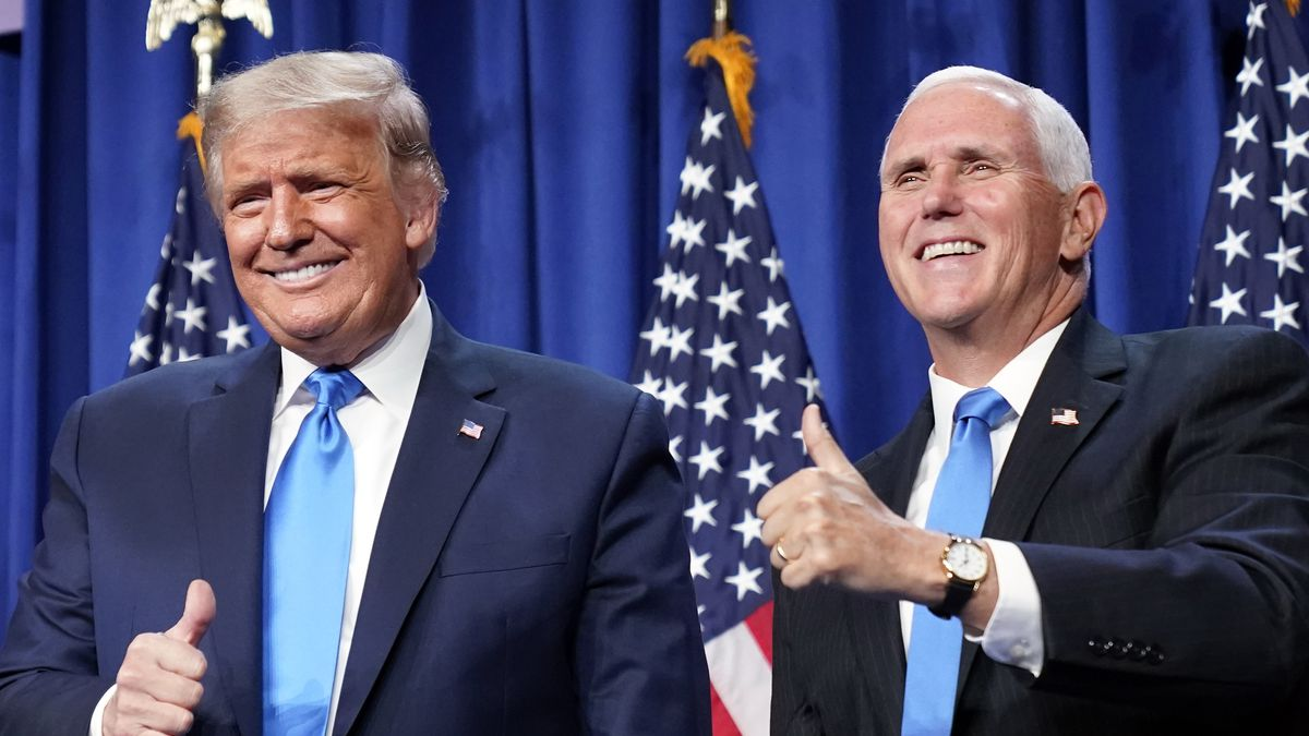 President Donald Trump and Vice President Mike Pence gesture at the 2020 Republican National...