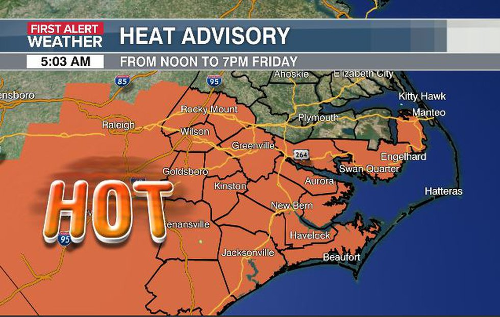 The heat index will reach 105 to 110 degrees