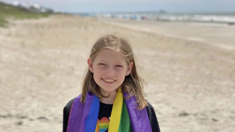 Ten-year-old Lilly Chigas organized a Pride event in Emerald Isle.