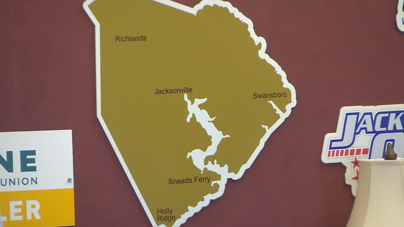 Map of Onslow County.