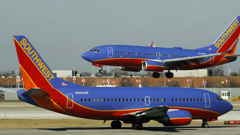 In this Feb. 9, 2012 file photo, a Southwest Airlines Boeing 737 waits to take off at Chicago's...