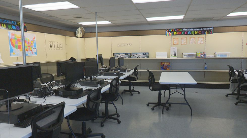 """The classroom was named """"Suddenlink Technology Classroom,"""" after the company donated 30..."""