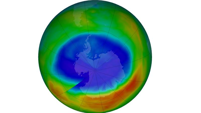A computer generated image of the ozone hole over Antarctica. The ozone layer is recovering but...