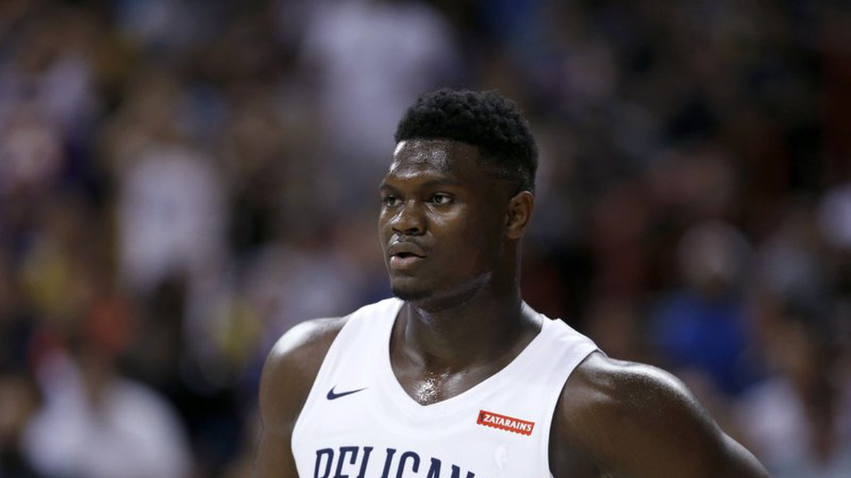 New Orleans Pelicans' Zion Williamson pauses during the team's NBA summer league basketball...