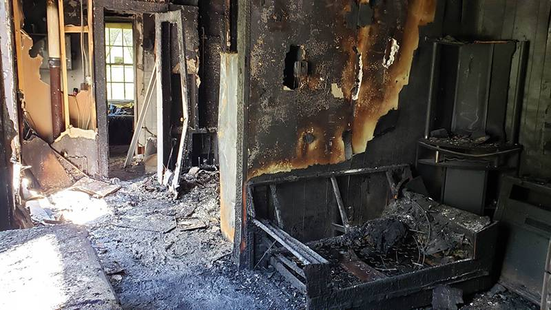 One of eight apartments was gutted by Sunday night's fire in Williamston.