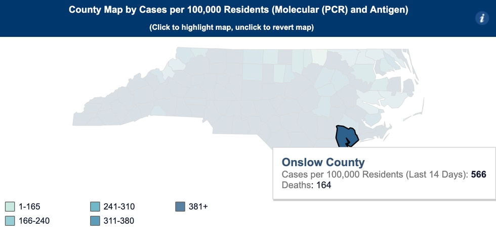 Onslow County COVID-19 Cases