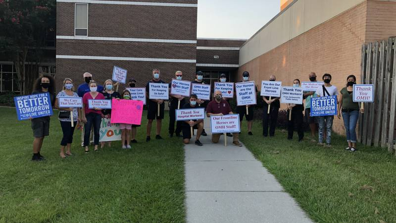 Community members hold rally to let healthcare providers know they are appreciated.